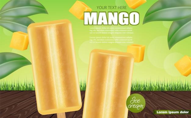 Banner gelato al mango Vettore Premium