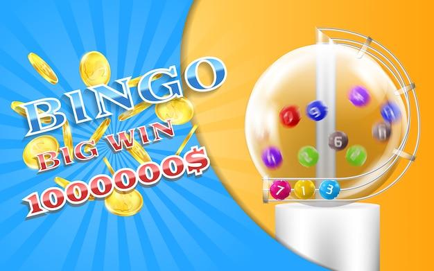 Banner gioco di bingo con monete d'oro realistiche, con macchina della lotteria e palline colorate Vettore Premium