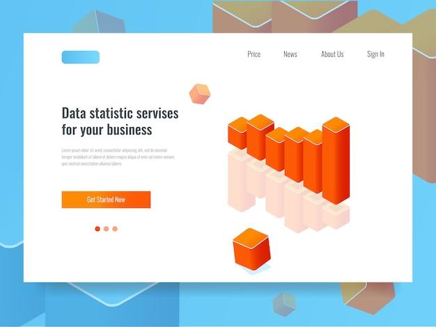 Banner grafico a barre, concetto di statistica e pianificazione, analisi dei dati di business Vettore gratuito