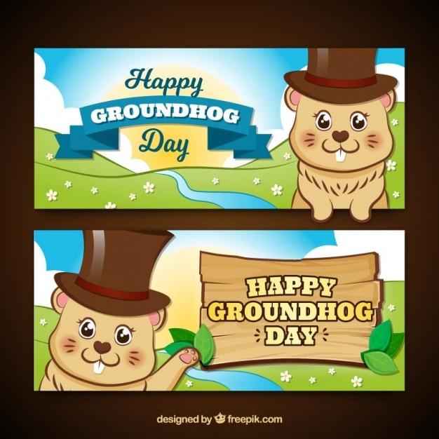 Banner groundhog day in stile cartone animato Vettore gratuito