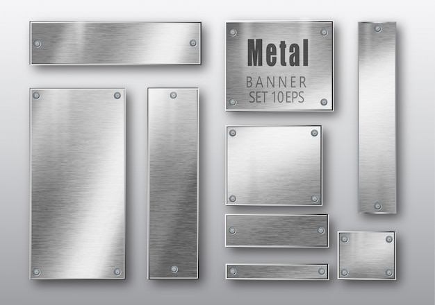 Banner in metallo set realistici. Vettore Premium