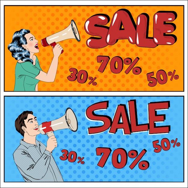 Banner in vendita in stile pop art. donna e uomo con il megafono Vettore Premium