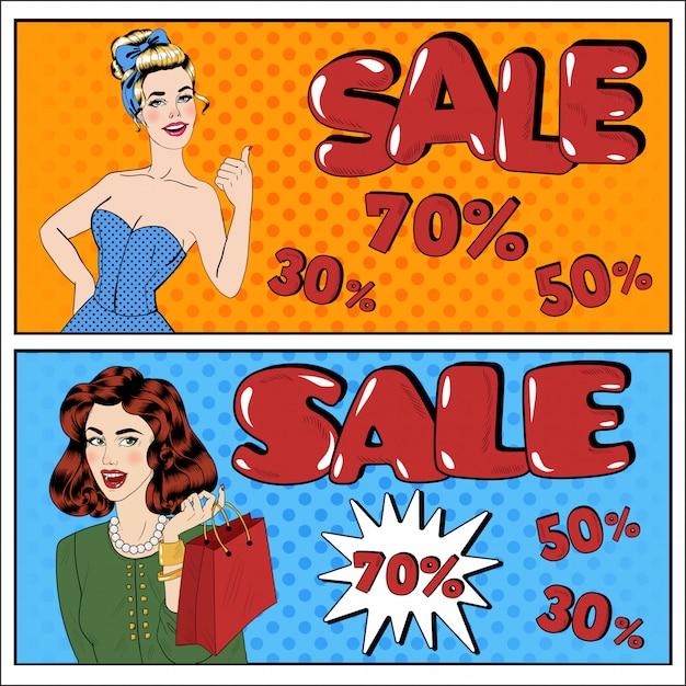 Banner in vendita in stile pop art. grande offerta vendita stagionale grande sconto. grande vendita. Vettore Premium