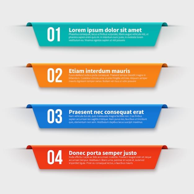 Banner infografici. etichette a colori con passaggi e opzioni impostati Vettore Premium