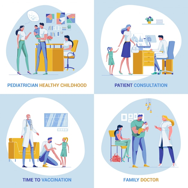 Banner innovativi per pediatria e cura della famiglia Vettore Premium