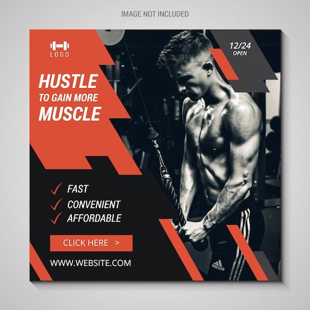 Banner instagram fitness Vettore Premium