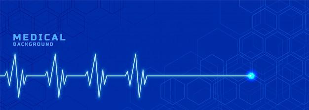 Banner linea di battito cardiaco mediale per l'industria sanitaria Vettore gratuito