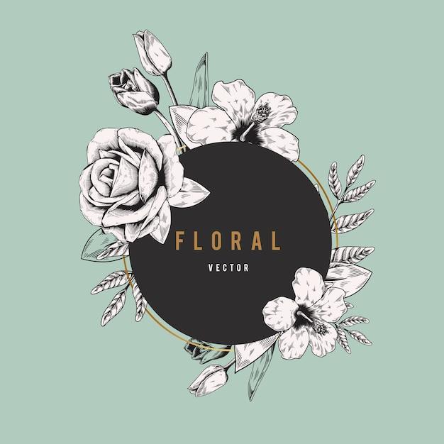 Banner logo floreale Vettore gratuito
