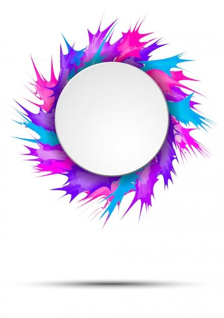 Banner luminoso e colorato con cornice rotonda su spruzzi di vernice vivida Vettore Premium