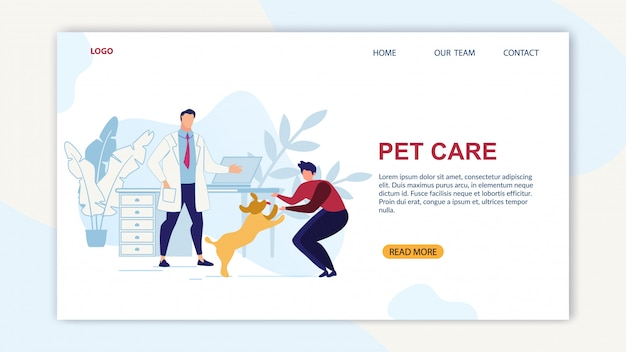 Banner luminoso è scritto pet care cartoon flat. Vettore Premium