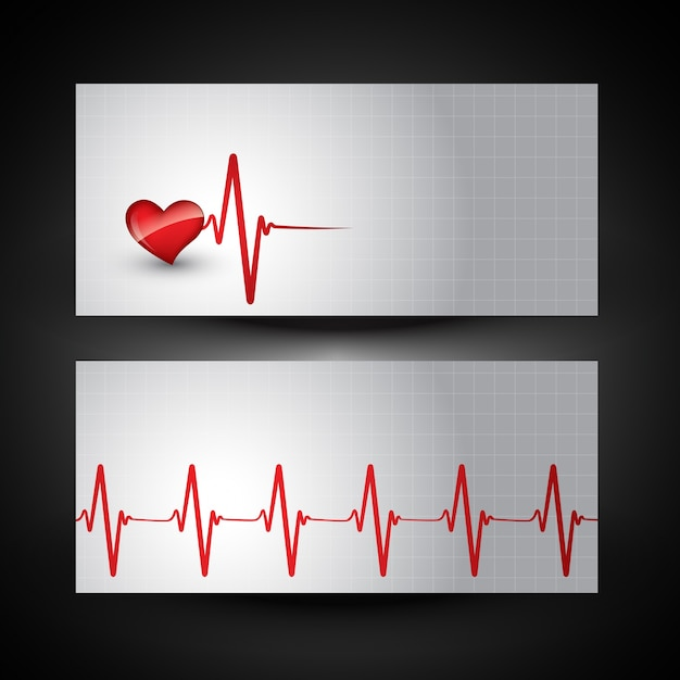 Banner medico con battito cardiaco illustrazione Vettore gratuito