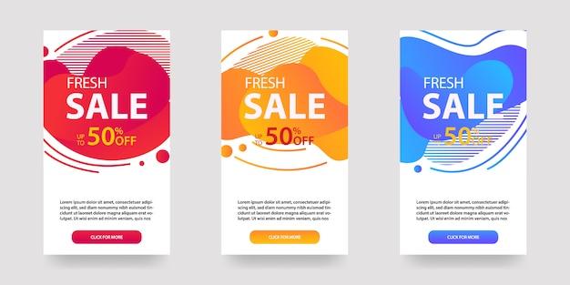 Banner mobile fluido dinamico moderno per la vendita. design del modello di banner di vendita, set di offerte speciali di vendita flash, post sui social media e altro ancora. Vettore Premium