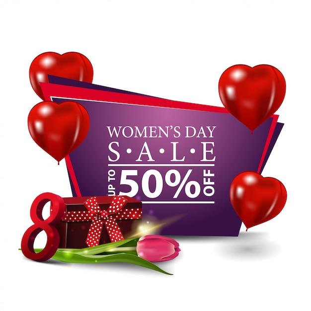 Banner moderno di sconto giornata della donna Vettore Premium