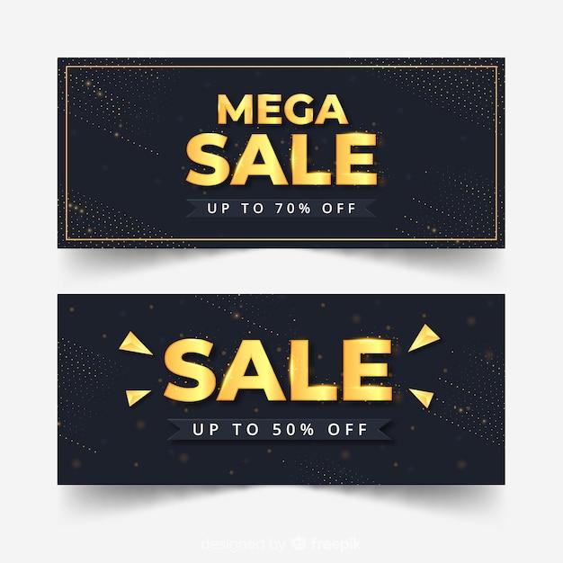 Banner moderno vendite d'oro Vettore gratuito