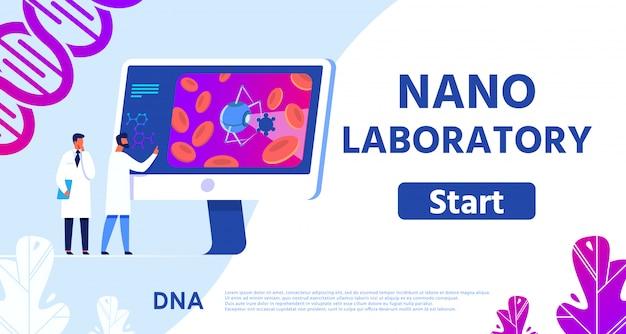 Banner nano laboratorio che presenta medicina remota. Vettore Premium