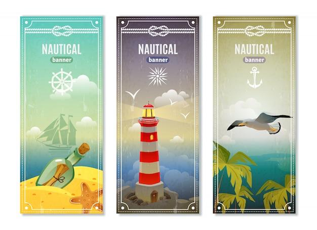 Banner nautico verticale retrò mare Vettore gratuito