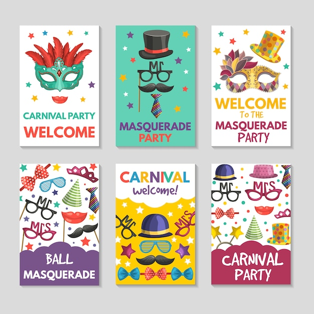 Banner o carte con illustrazioni di strumenti divertenti Vettore Premium