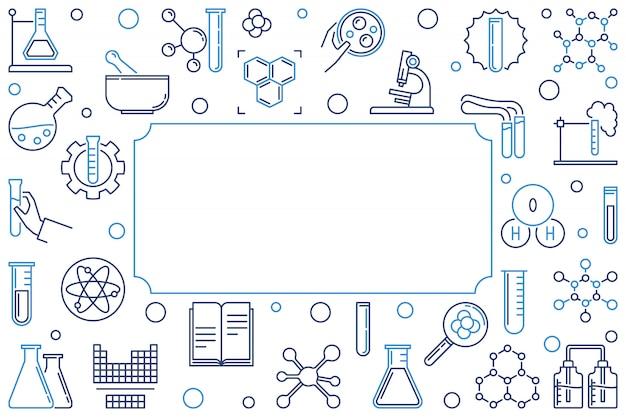 Banner o cornice orizzontale chimica. illustrazione Vettore Premium