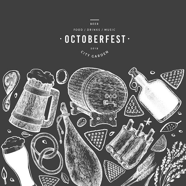 Banner octoberfest con elementi disegnati a mano Vettore Premium