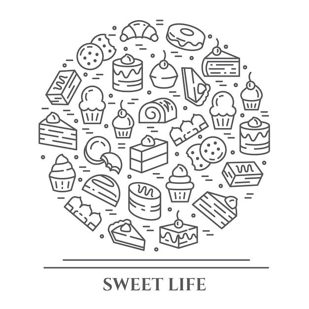 Banner orizzontale a tema torte e biscotti. Vettore Premium