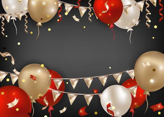 Banner orizzontale carnevale brasiliano con palloncini colorati, ghirlande di bandiere, serpentino. sfondo di celebrazione per la festa del mardi gras, eventi in maschera, sfilate. Vettore Premium