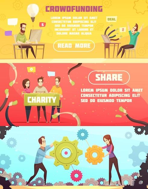 Banner orizzontale di crowdfunding Vettore gratuito