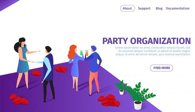 Banner orizzontale organizzazione partito con coppie Vettore Premium