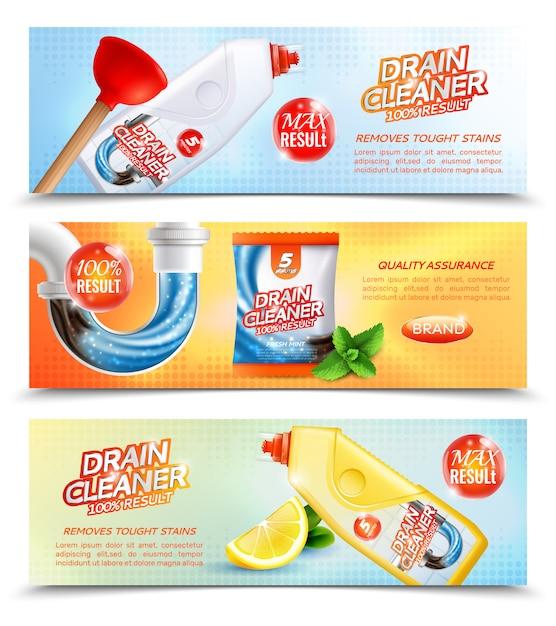 Banner orizzontale per detergenti sanitari Vettore gratuito
