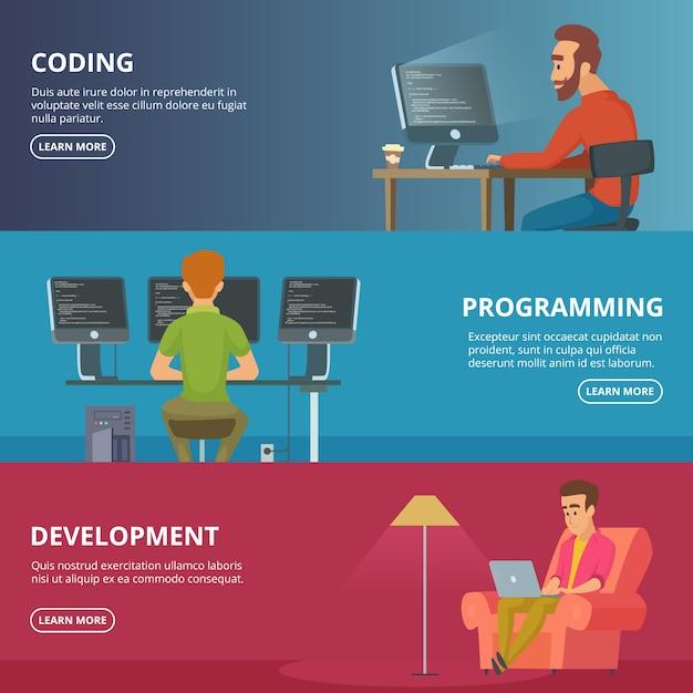 Banner orizzontali con designer e programmatori Vettore Premium