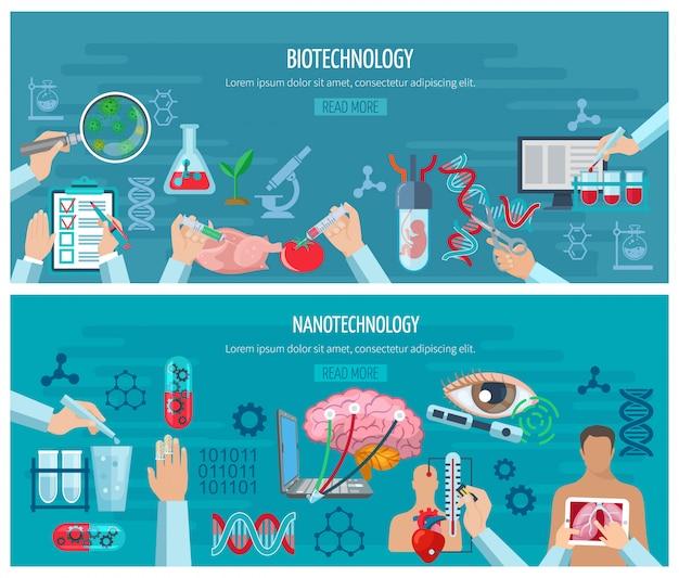 Banner orizzontali di biotecnologia e nanotecnologia Vettore gratuito