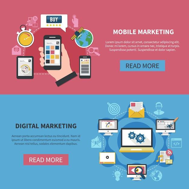 Banner orizzontali di marketing digitale Vettore gratuito