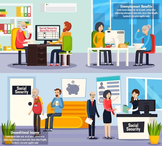 Banner ortogonali di previdenza sociale Vettore gratuito