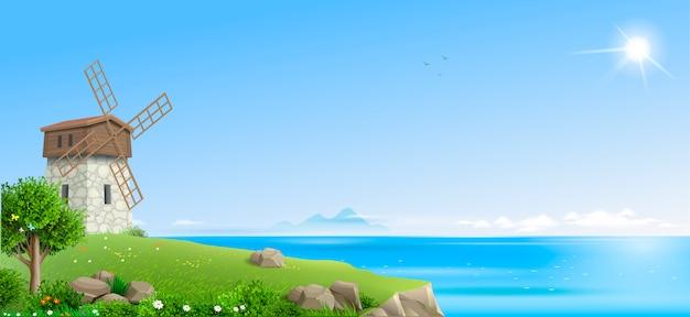 Banner paesaggio di fantasia naturale Vettore Premium