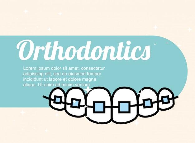 Banner per cure odontoiatriche in ortodonzia Vettore Premium