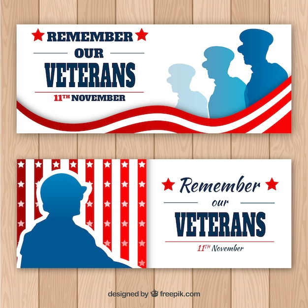 Banner per i veterani Vettore gratuito