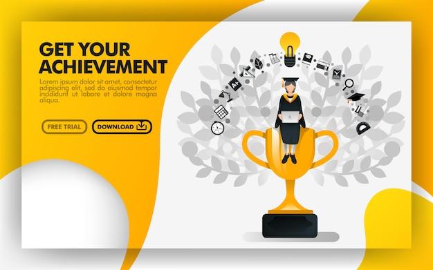 Banner per ottenere il tuo obiettivo Vettore Premium