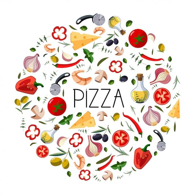 Banner per scatola di pizza Vettore Premium