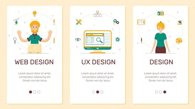 Banner per telefono, design, ux Vettore Premium