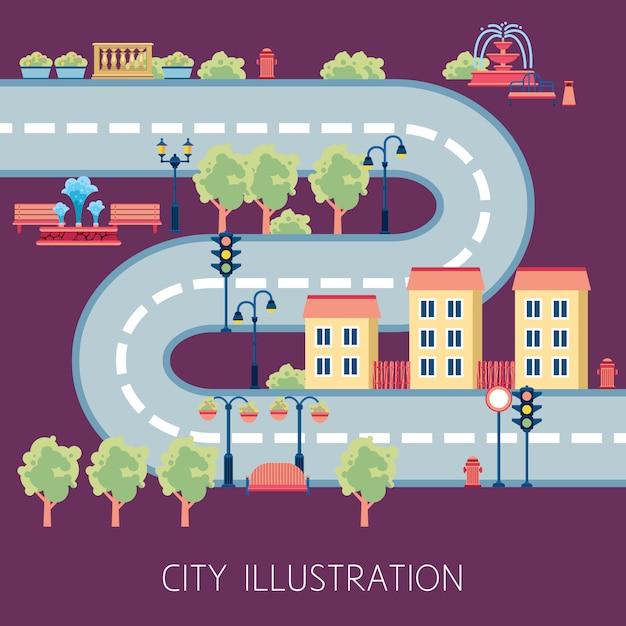 Banner piatto astratto di city street schema Vettore gratuito