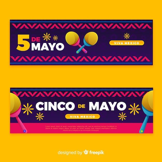 Banner piatto cinco de mayo Vettore gratuito