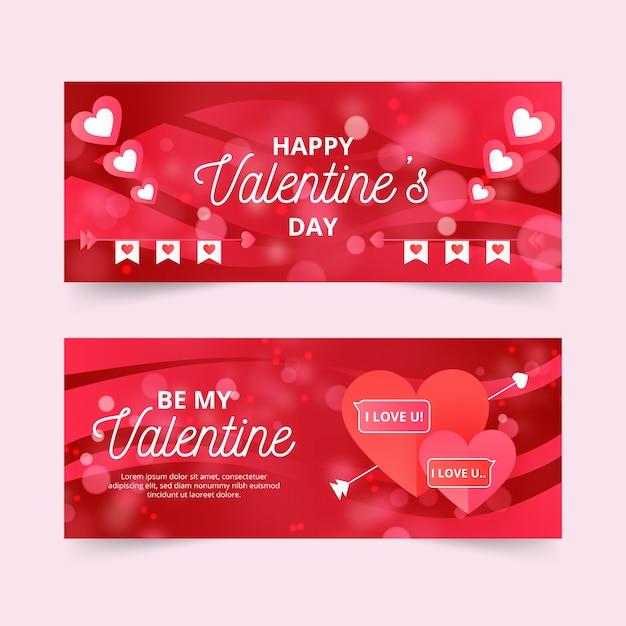 Banner piatto colorato di san valentino Vettore gratuito