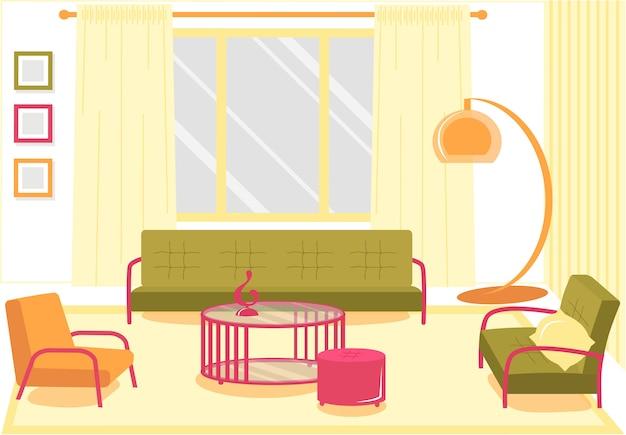 Banner piatto confortevole soggiorno, cartone animato. Vettore Premium