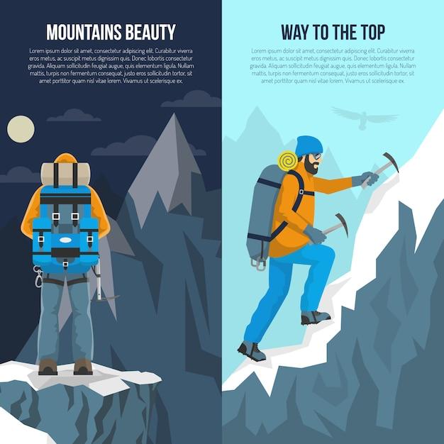 Banner piatto di alpinismo Vettore gratuito