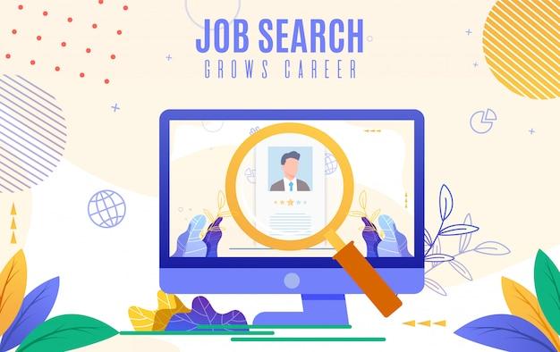 Banner piatto è scritto cerca lavoro cresce carriera. Vettore Premium