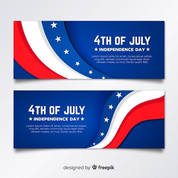 Banner piatto quarto di luglio Vettore gratuito