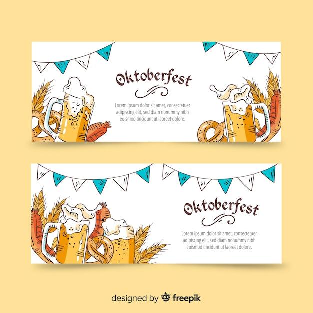 Banner più oktoberfest disegnati a mano Vettore gratuito