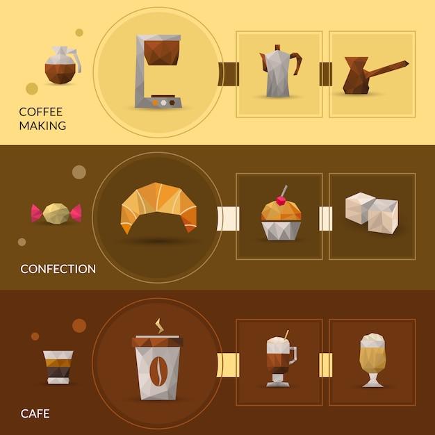 Banner poligonal coffee and confectionery Vettore gratuito