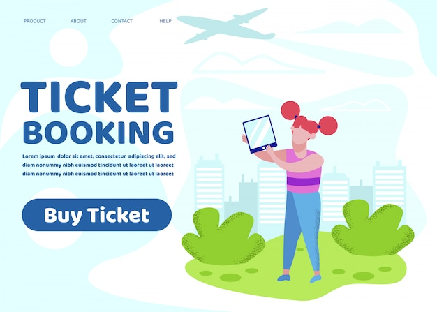 Banner prenotazione biglietti, little girl hold tablet pc Vettore Premium