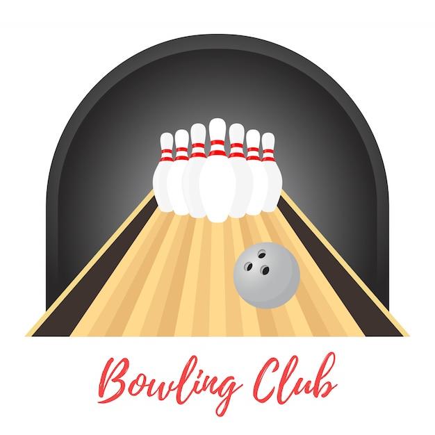 Banner promozionale di bowling, birilli, palla Vettore Premium