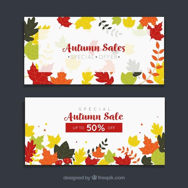 Banner promozionali per l'autunno Vettore gratuito